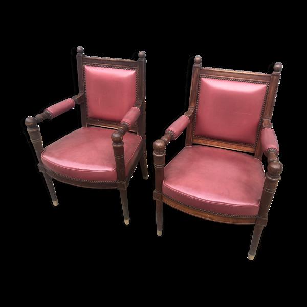 Paire de fauteuils Maison Jansen en cuir