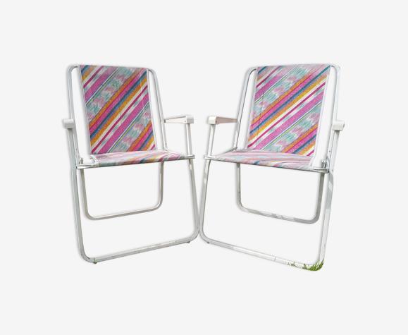 Paire chaises pliantes Lerolin métal blanc avec tissu multicolore jardin vintage