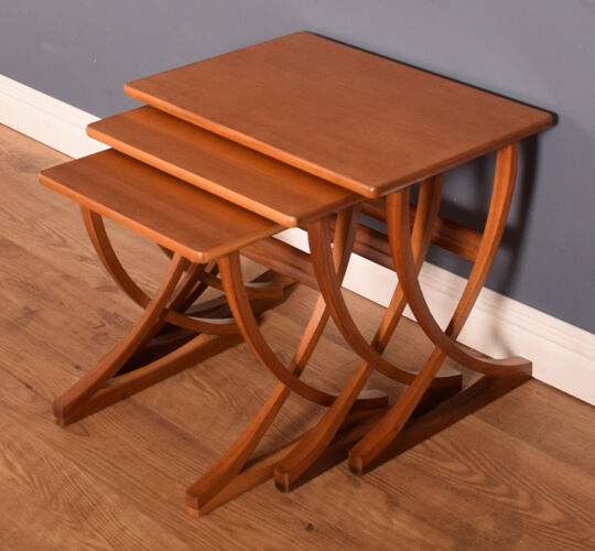 Restored teak retro 1960s Nathan nest of three coffee tables end tables
