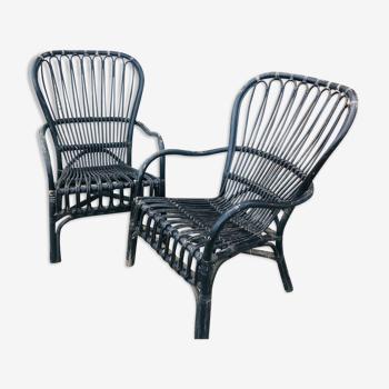 Set de 2 fauteuils en rotin noir