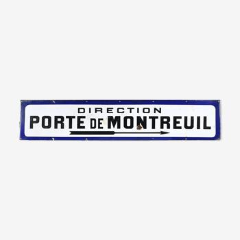 Plaque émaillée Direction porte de Montreuil fond blanc