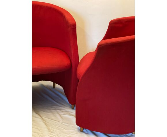 Pair of red cocktail style chairs