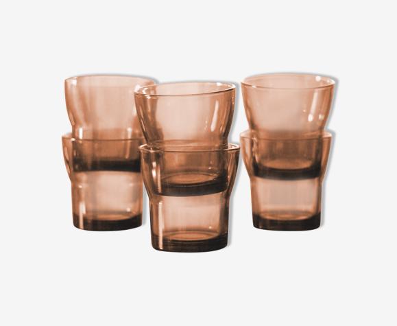 Lot de 6 verres en verre fumé