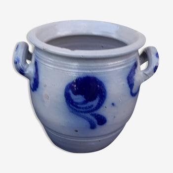 Pot à sel en grès émaillé d'Alsace  H 17 cm diam 16,5 cm