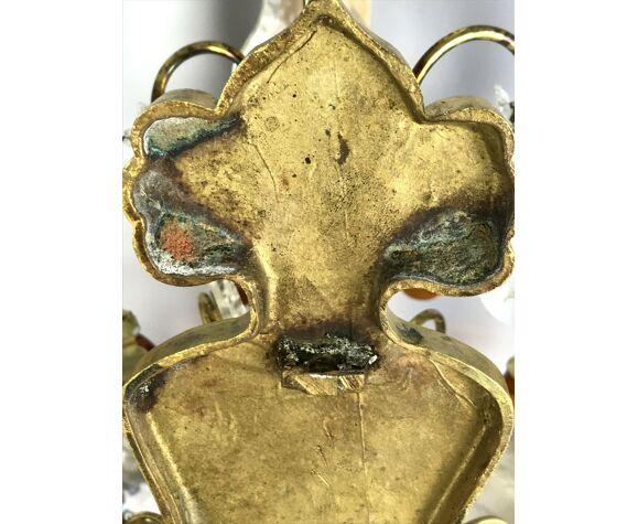 Paire d'appliques anciennes en bronze avec pampilles et gouttes de couleur ambre