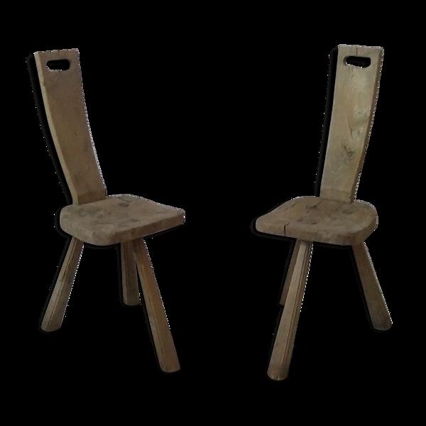 Paire de chaises tripodes années 60