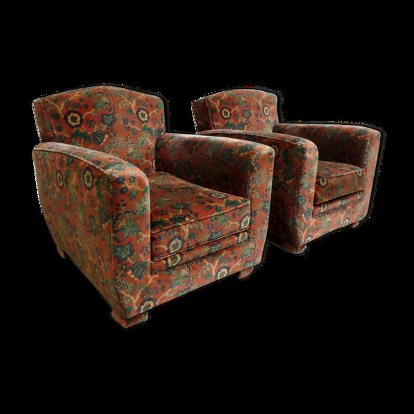 Paire de fauteuils club en tissu fleuri