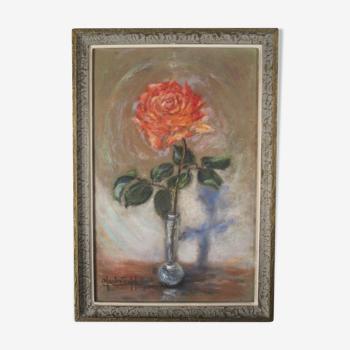 Ancien Tableau Peinture Huile sur tissu velours Rose Vase Soliflore Signé