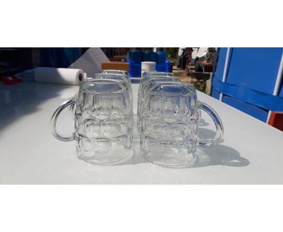 """6 chopes à bière en verre """"france """""""