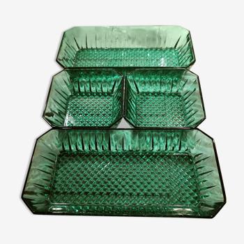 4 ramequins verts émeraude Arcoroc France