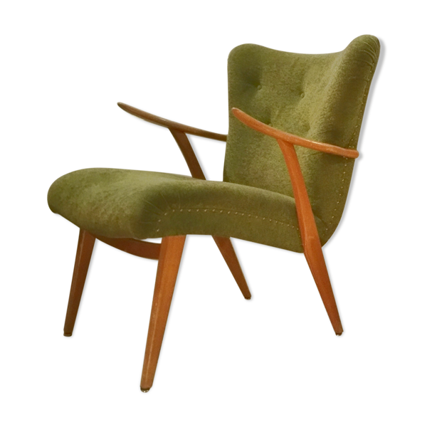 Selency Fauteuil Wing Chair  scandinave années 50 60