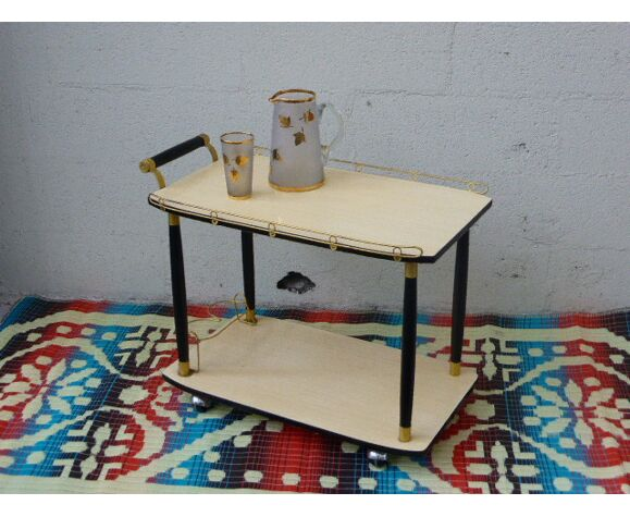 Table roulante vintage et design 1950, bois et métal doré