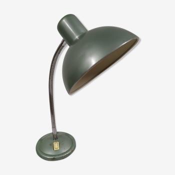 Lampe de bureau à poser métal alu vert année 60 70 - fonctionne