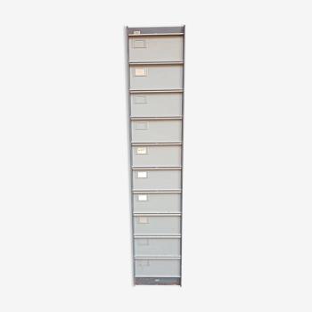 Ancien casier 10 tiroirs en métal