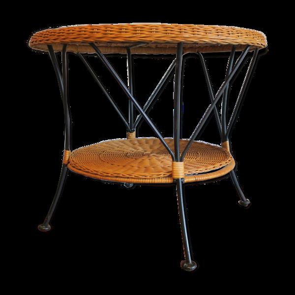 Selency Table basse à deux niveaux en rotin et fer noir, années 1960
