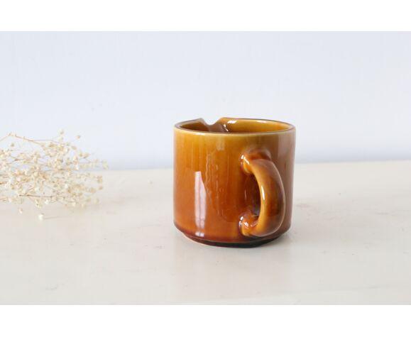 Pot à lait en céramique marron Niderviller made in France, vintage