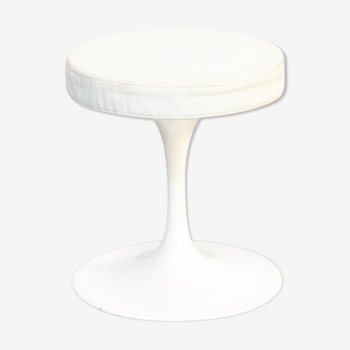 70s Rudi Bonzanini White metal and leather stool