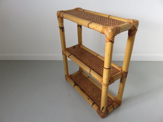 Etagère en cannage rotin et bambou années 60 70