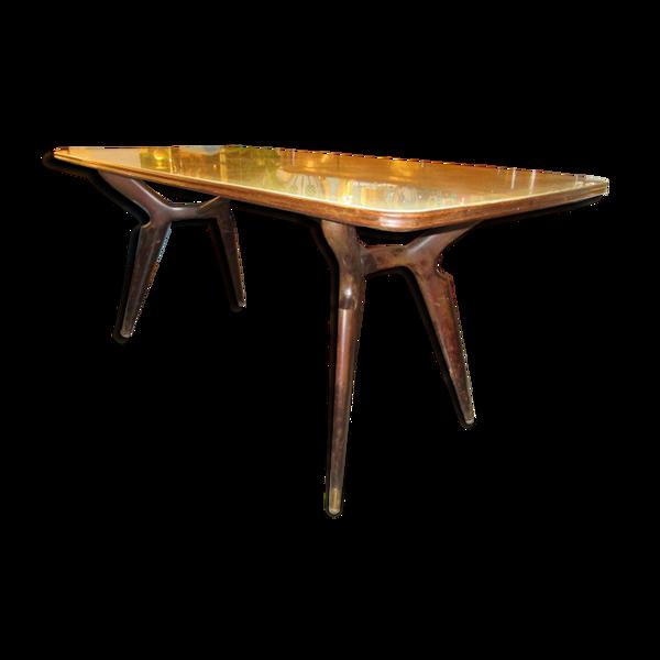 Table avec plateau en verre  des années 70