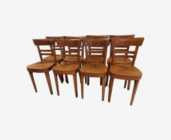 Suite de 8 chaises de bistrot art deco Fischel années 1950