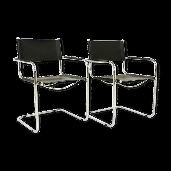 2 fauteuils en cuir, Italie, 1980