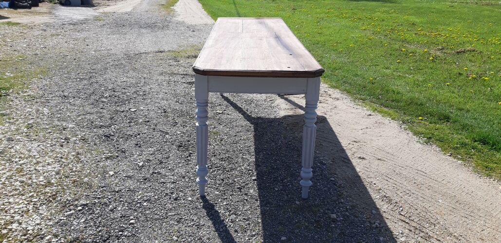 Table de drapier 19 éme chéne cérusé vieux gris 1 tiroir .