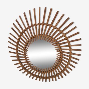 Sun-shaped mirror in bamboo rattan 50-60 years