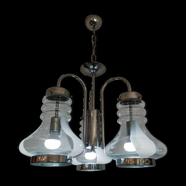 Lustre italien industriel triple cloche en verre de murano et chrome années 1960