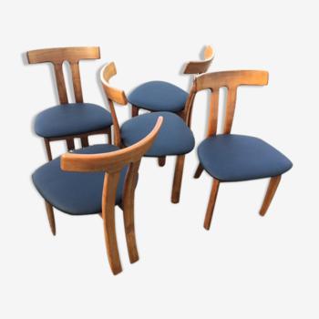 Set de 5 chaises danoises en forme de t années 1960