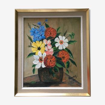 Tableau bouquet naïf