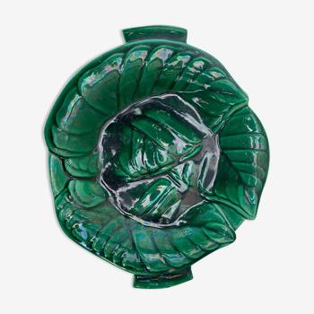 Plat barbotine feuillage en céramique émaillée vert vintage