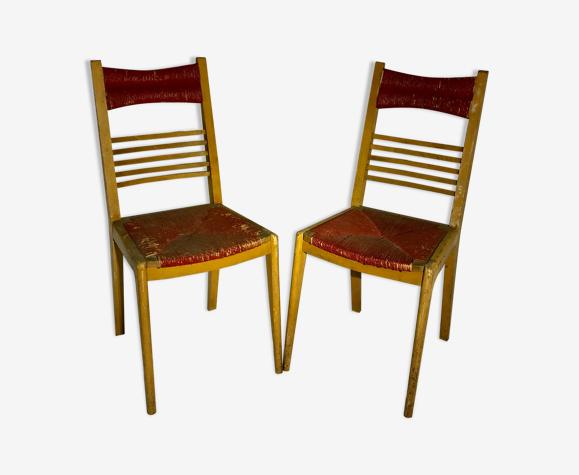Paire de chaises vintage en bois et paille