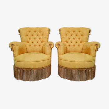 Paire de fauteuils crapauds époque Napoléon III vers 1850