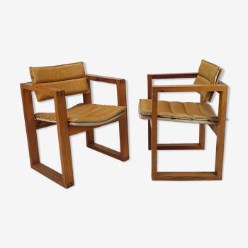 Ensemble de 2 fauteuils en cuir et en pin design néerlandais par Ate van Apeldoorn, années 1960