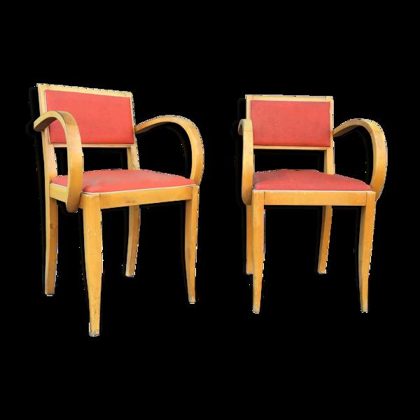 Paire de fauteuils bridge mid-century