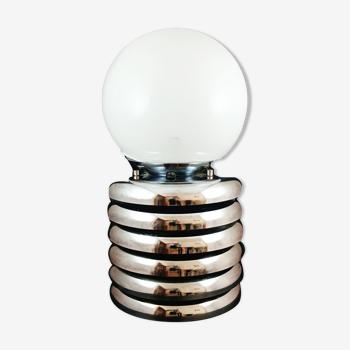 """Lampe """"ressort"""" métal chromé et globe en verre"""