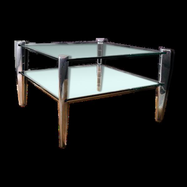 Table basse deux plateaux en verre