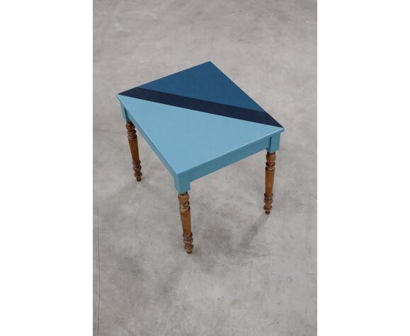 Table bureau en bois au design camaieu de bleus