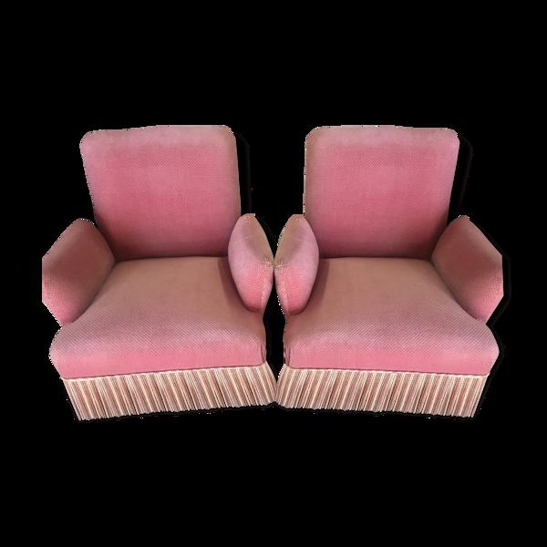 Paire de fauteuils crapaud velours rose
