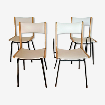 Series of 4 chairs, 50s