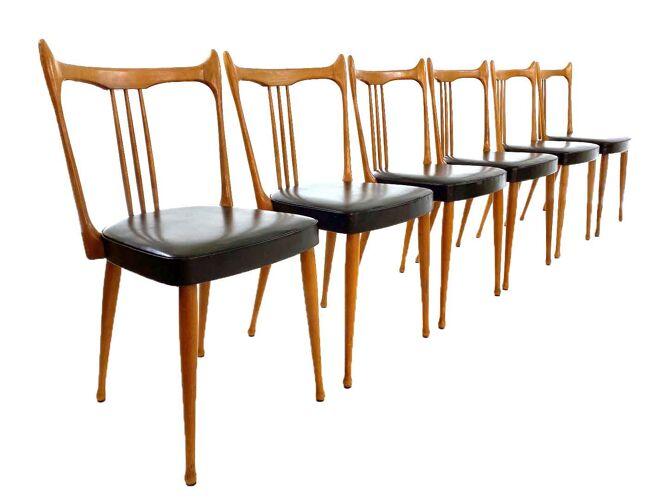 6 chaises de cuisine vintage Seaty '64