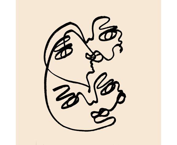 Œuvre originale 'a close connection acrylique sur papier fabriano