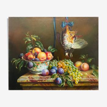 """Tableau """"Nature morte aux fruits et marbre"""" HST signée F. Régnier"""
