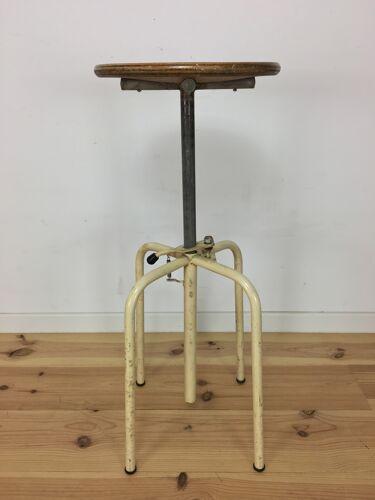 Tabouret d'atelier à système, métal et bois, réglable style industriel