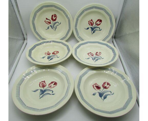 6 assiettes creuses vintage Digoin modèle tulipes french plates