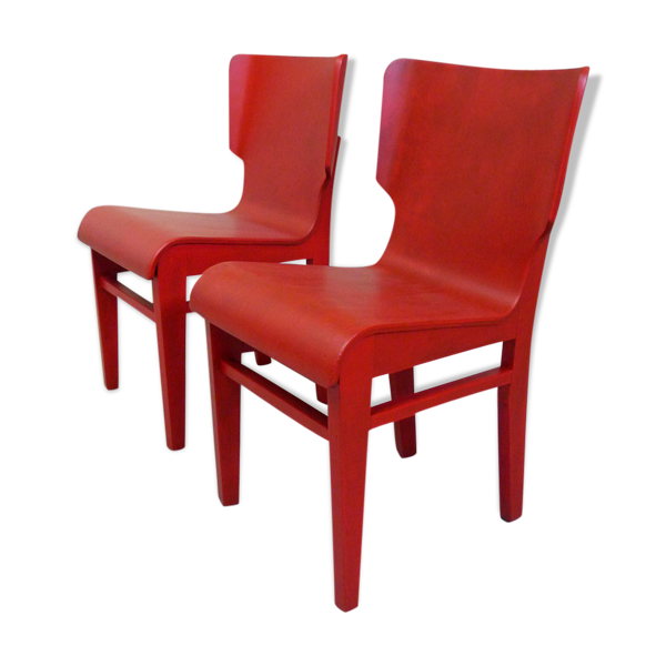 Paire de chaises rouges
