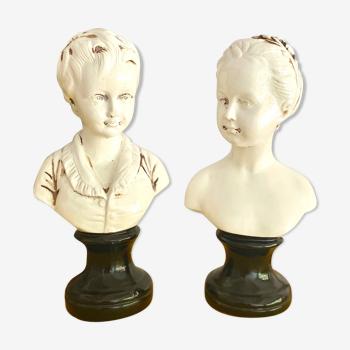Paire des bustes de louise et alexandre brongniart en terre cuite