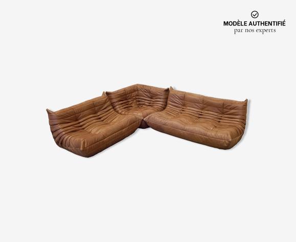 Set de 3 canapés Togo en cuir brun tobacco par Michel Ducaroy pour Ligne Roset