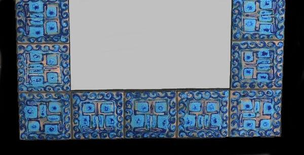 Miroir mural en cuivre élamé à la main des années 1960 par l'artiste danois Bodil Eje