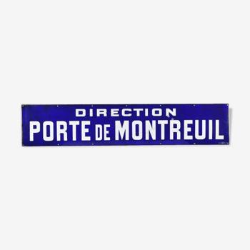 Plaque émaillée Direction porte de Montreuil fond bleu